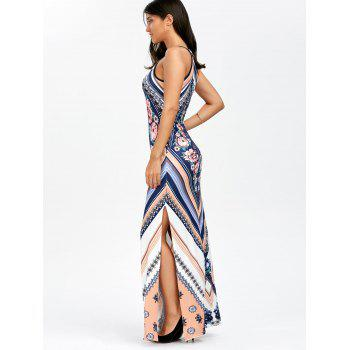 Floral Chevron Sleeveless Keyhole Neck Beach Maxi Dress - BLUE XL