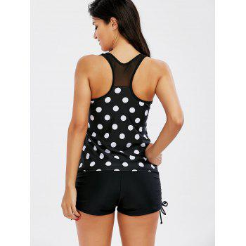 Polka Dot Racerback Padded Tankini - BLACK XL