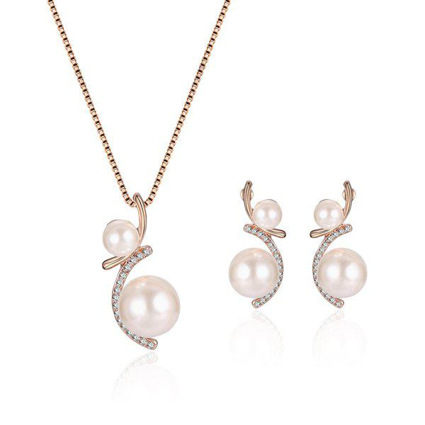 Artificial Pearl Rhinestone Pendant Necklace with Earrings rhinestone artificial pearl flower necklace