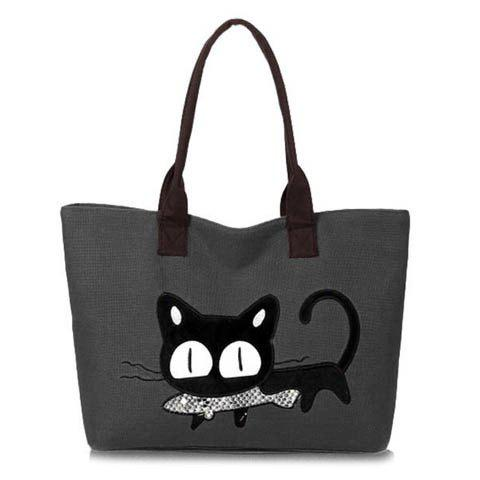 Trendy Cat Print and Canvas Design Shoulder Bag For Women - GRAY