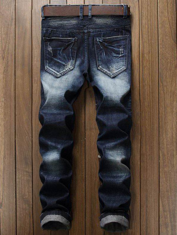 Patch and Zipper Design Frayed Ripped Jeans - DEEP BLUE 36
