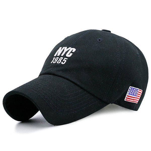 American Flag Letters Embellished Baseball Hat - BLACK
