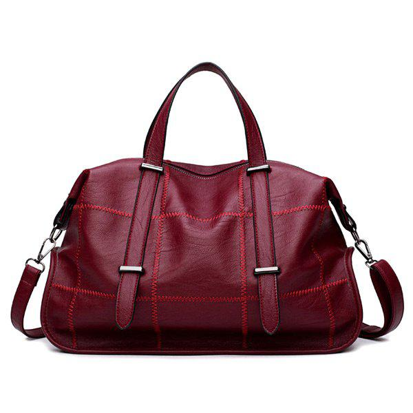 Faux Leather Stitching Slouchy Handbag - Rouge
