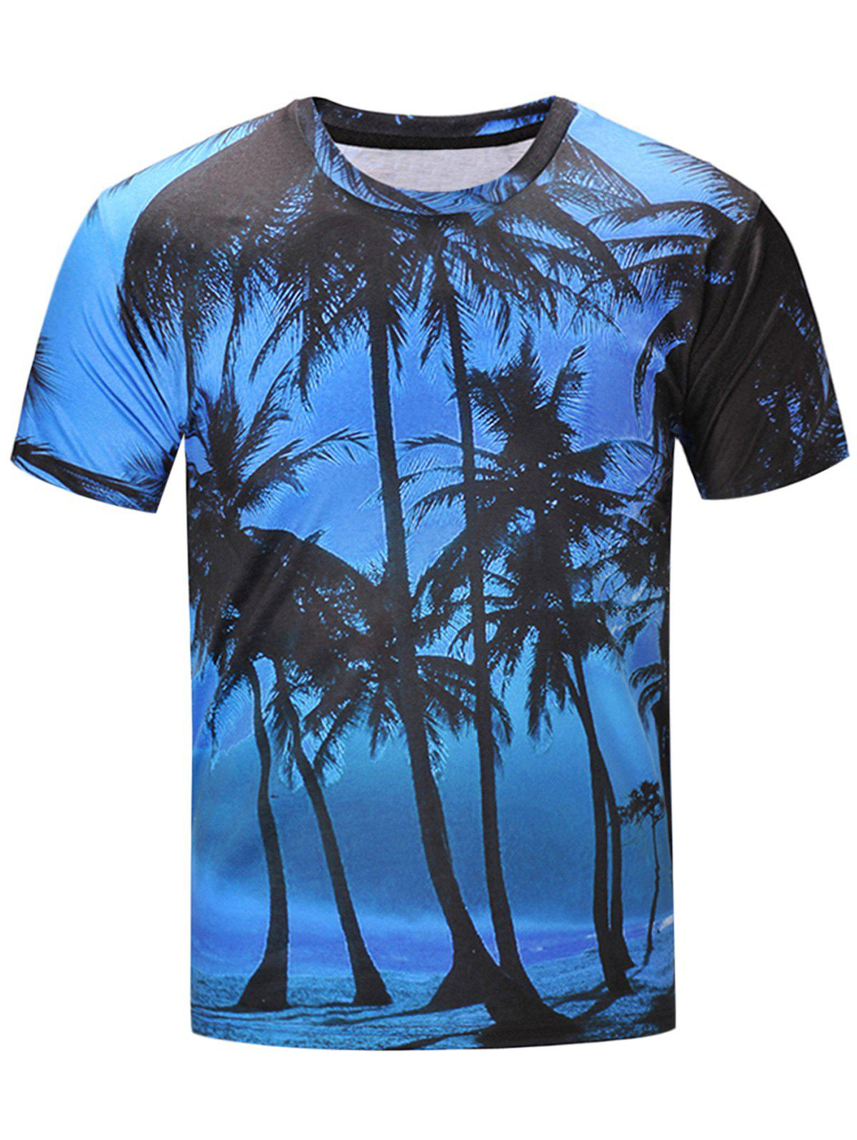 Hawaiian 3D Coconut Tree Print T-Shirt - COLORMIX 3XL