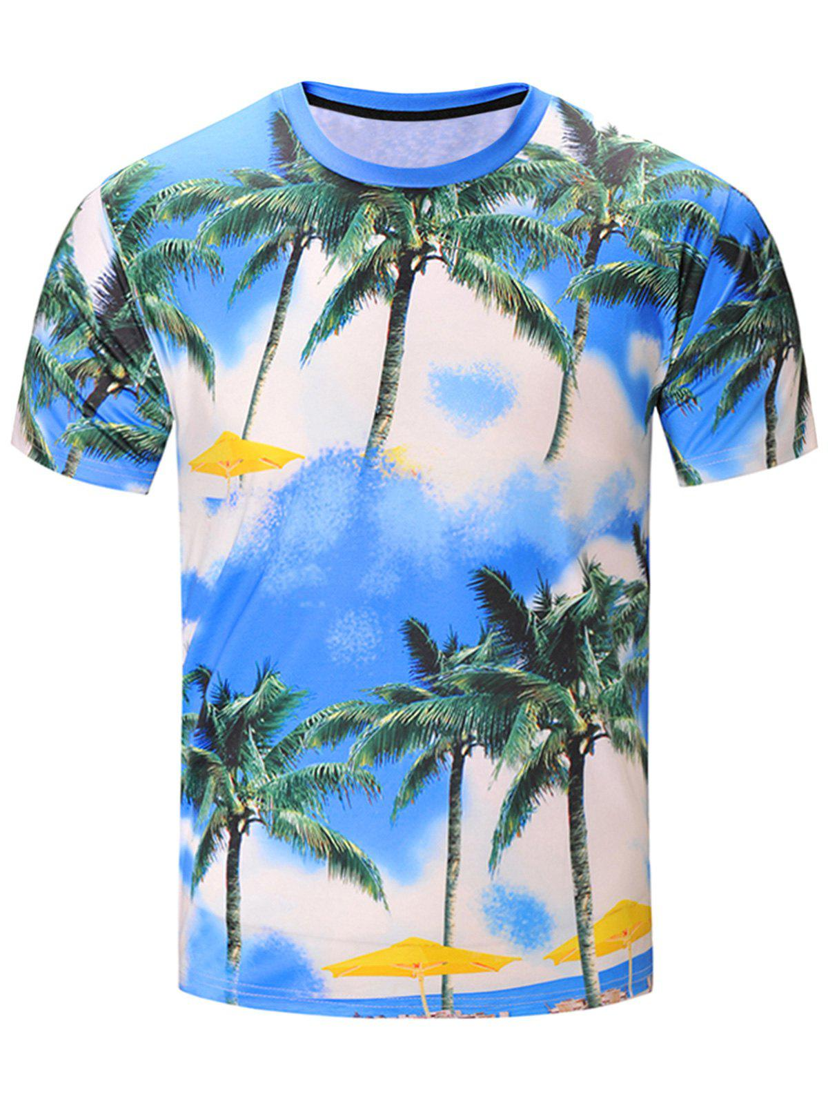 3D Coconut Tree Print Hawaiian Short Sleeve T-Shirt - COLORMIX 2XL