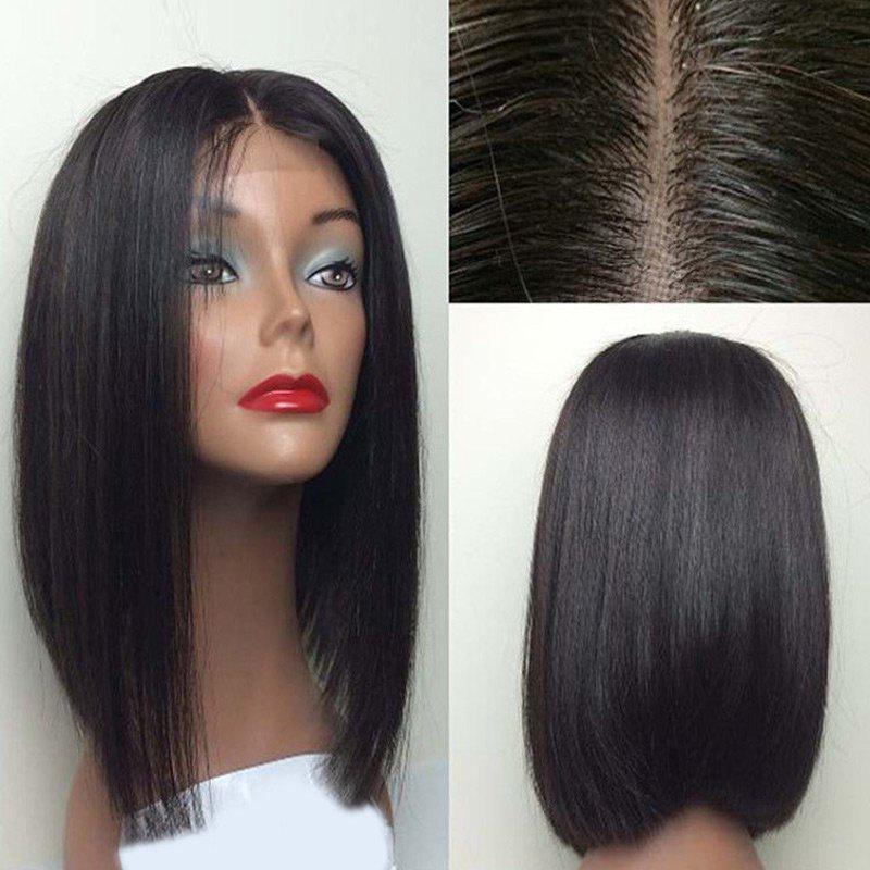 Center Part Medium Glossy  Straight Bob Lace Front Synthetic Wig - BLACK