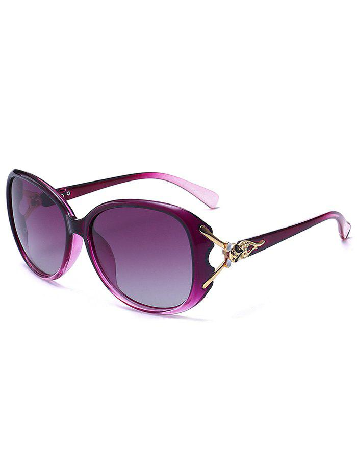 Metallic Carved Inlay Ombre Sunglasses - PURPLE