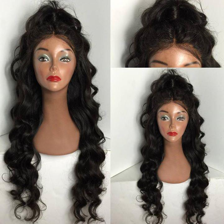Ultra Long Shaggy Center Part Body Wave Lace Front Synthetic Wig celebrity top fashion long body wave style fiery red synthetic lace front long red wig