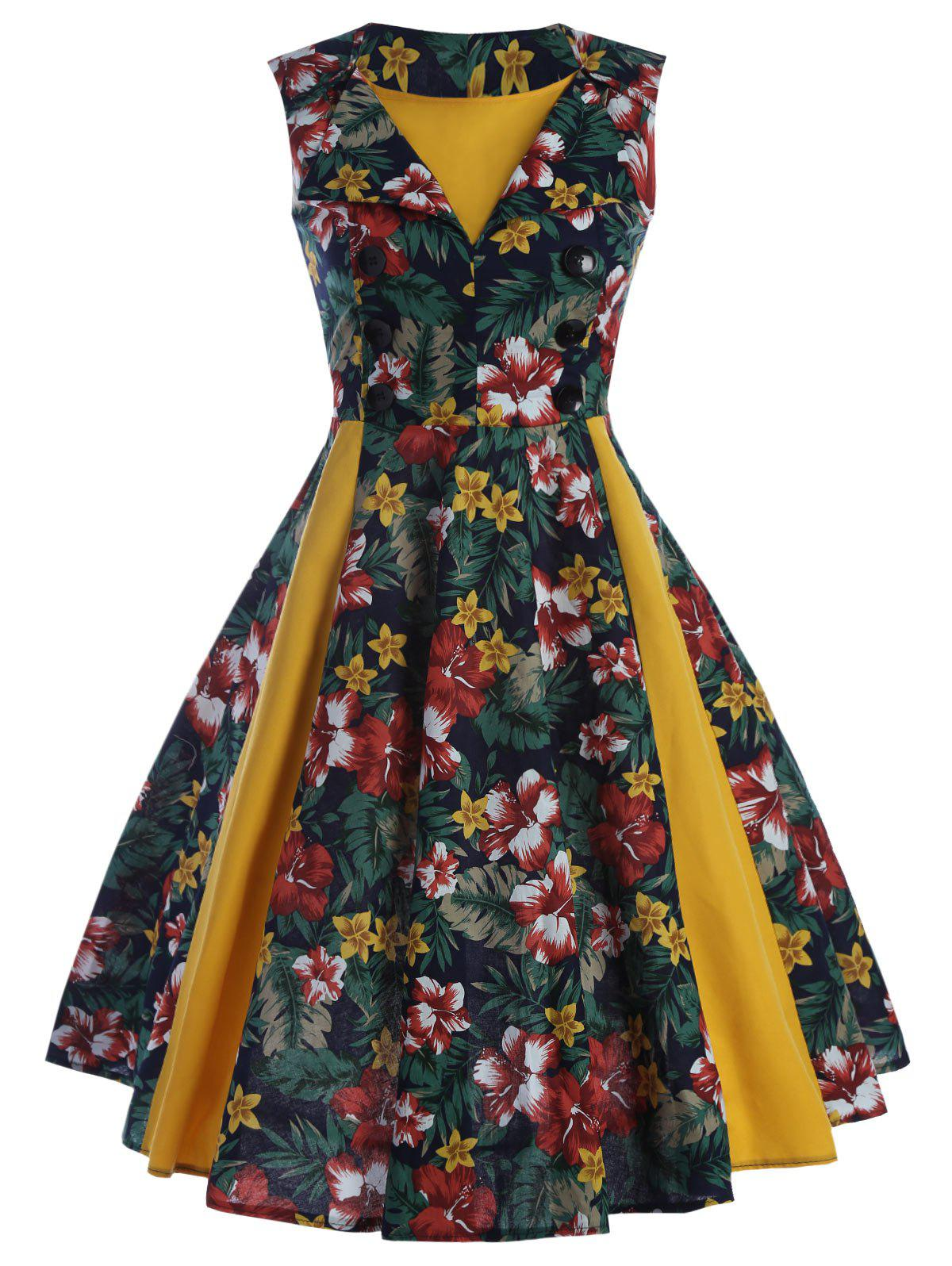 Printed Front Buttoned Sleeveless Vintage Dress - YELLOW M