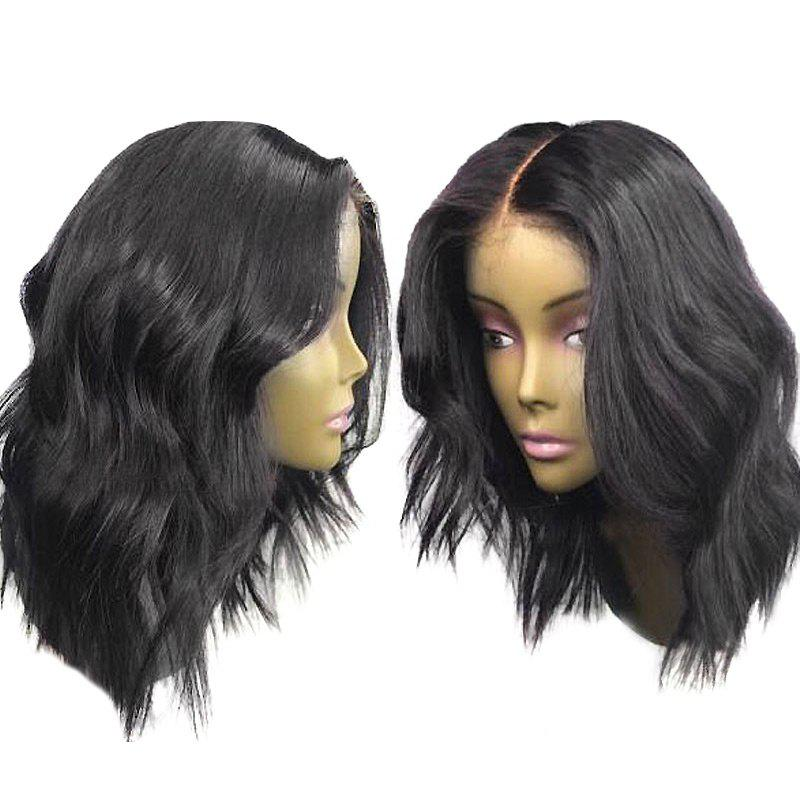 Long Center Parting Shaggy Wavy Lace Front Synthetic Wig - BLACK