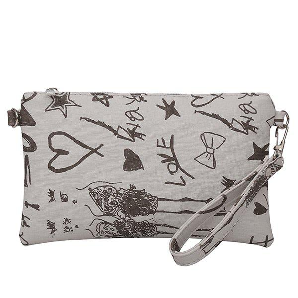 Graffiti Print Faux Leather Wristlet - GRAY