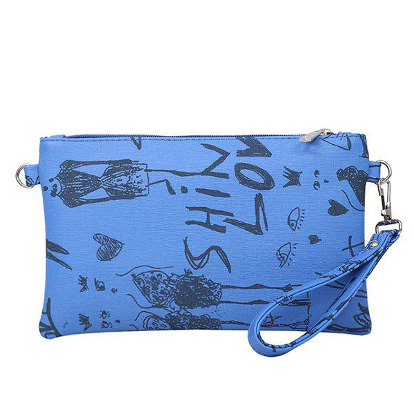 Graffiti Print Faux Leather Wristlet - DEEP BLUE