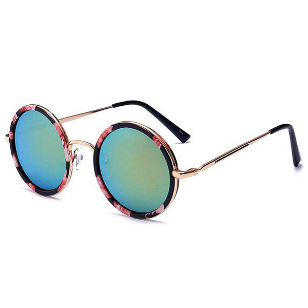 Mirror Reflective Metal Frame Retro Round Sunglasses - PINK / GREEN