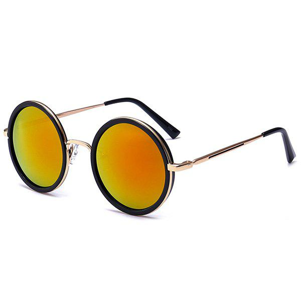 Mirror Reflective Metal Frame Retro Round Sunglasses - JACINTH