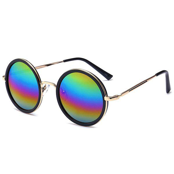 Mirror Reflective Metal Frame Retro Round Sunglasses - BLUE/ROSE RED/PURPLE/GREEN