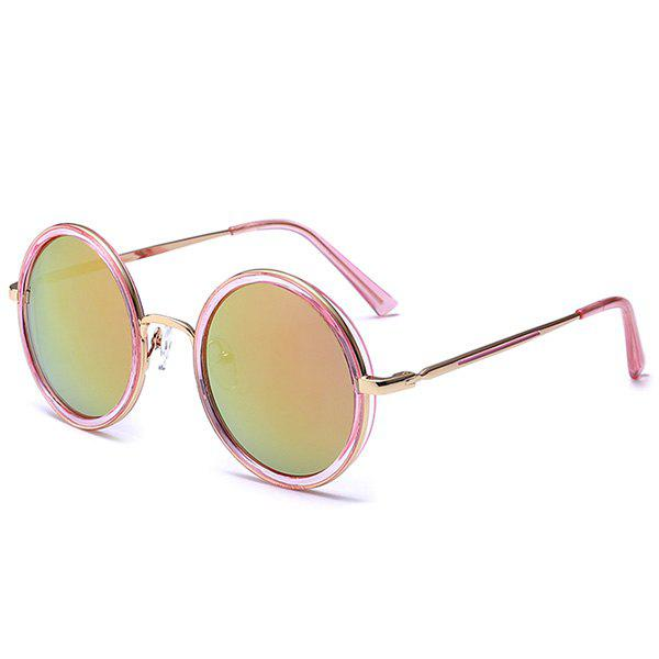 Mirror Reflective Metal Frame Retro Round Sunglasses - PINK