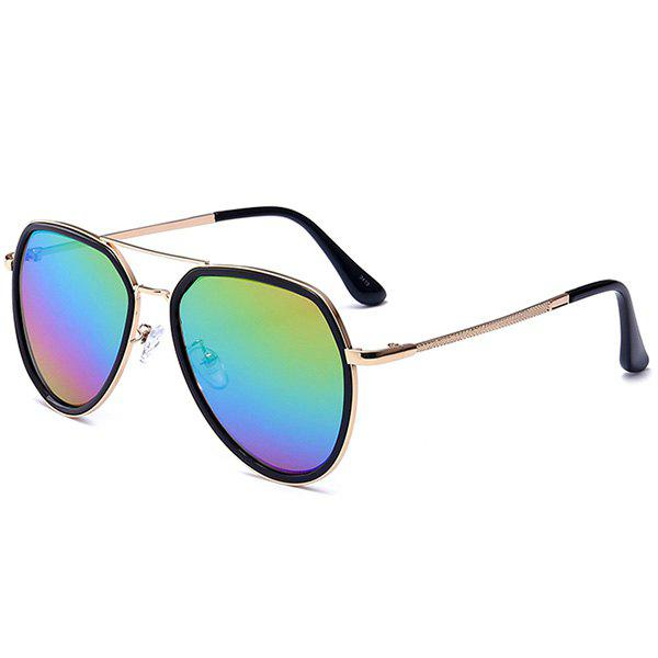 Metallic Frame Reflective Mirrored Pilot Sunglasses - BLUE/ROSE RED/PURPLE/GREEN