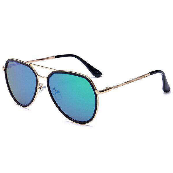 Metallic Frame Reflective Mirrored Pilot Sunglasses - GREEN