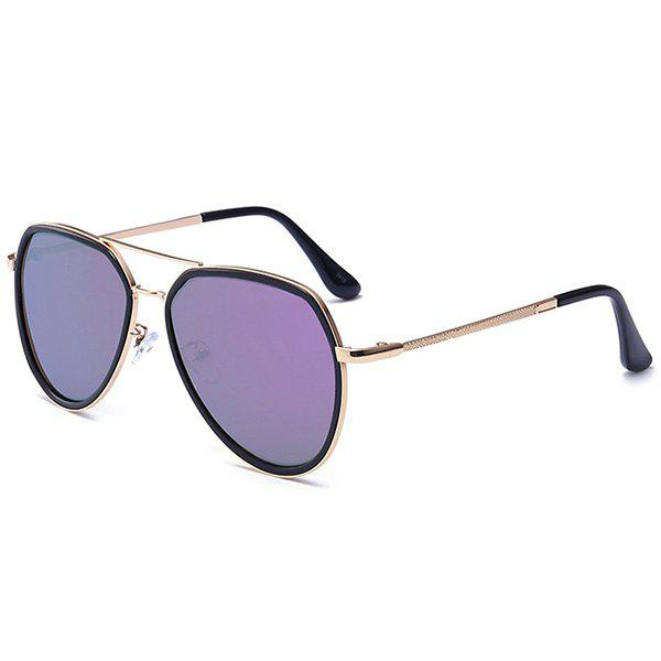 Metallic Frame Reflective Mirrored Pilot Sunglasses - PURPLE