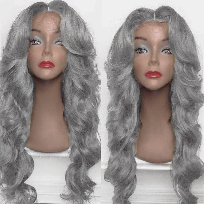 Long Shaggy Middle Part Big Wavy Synthetic Wig - FROST
