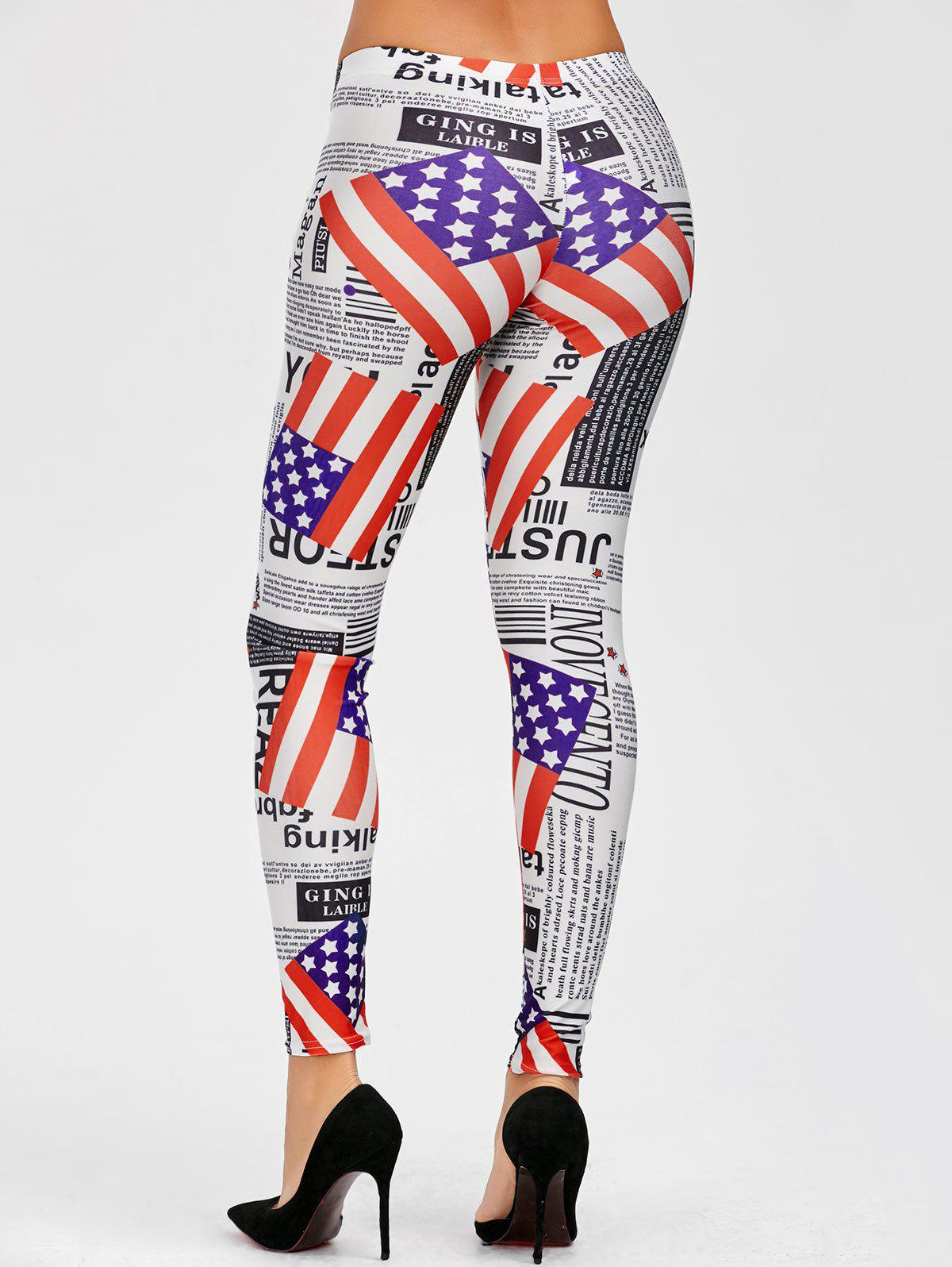 American Flag Graphic Mid Waist Leggings - COLORMIX ONE SIZE
