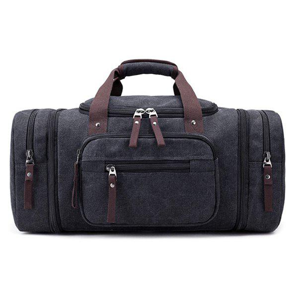 Multi Zippers Canvas Weekender Bag - BLACK