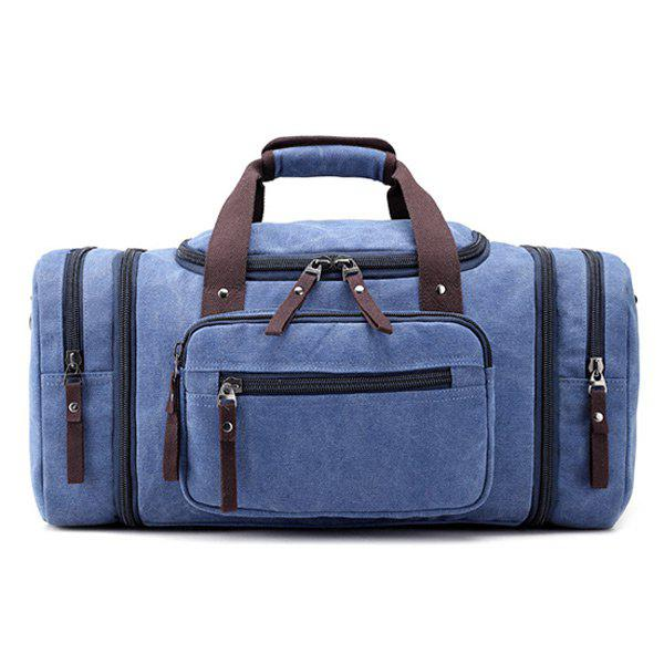 Multi Zippers Canvas Weekender Bag - BLUE