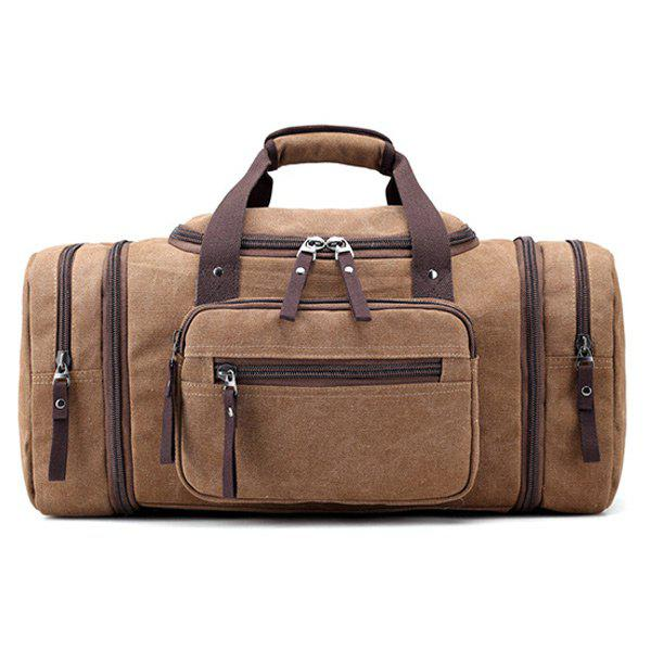 Multi Zippers Canvas Weekender Bag - Brun