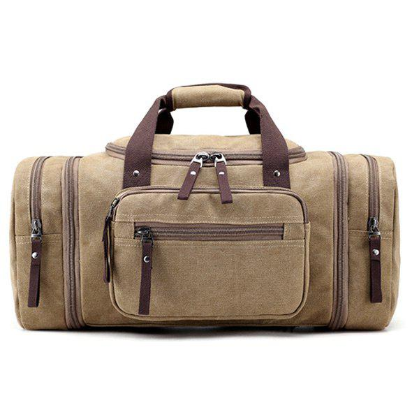 Multi Zippers Canvas Weekender Bag - KHAKI