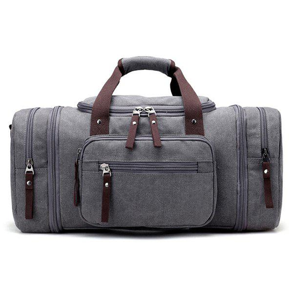 Multi Zippers Canvas Weekender Bag - gris
