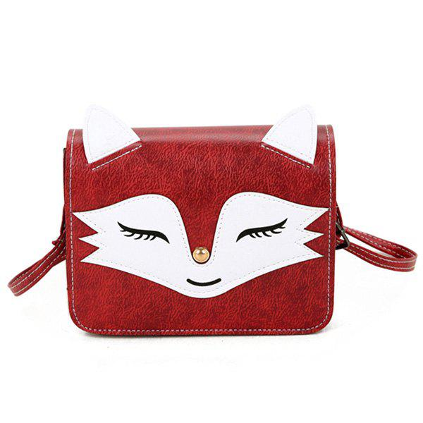 Fox Pattern PU Leather Crossbody Bag - RED