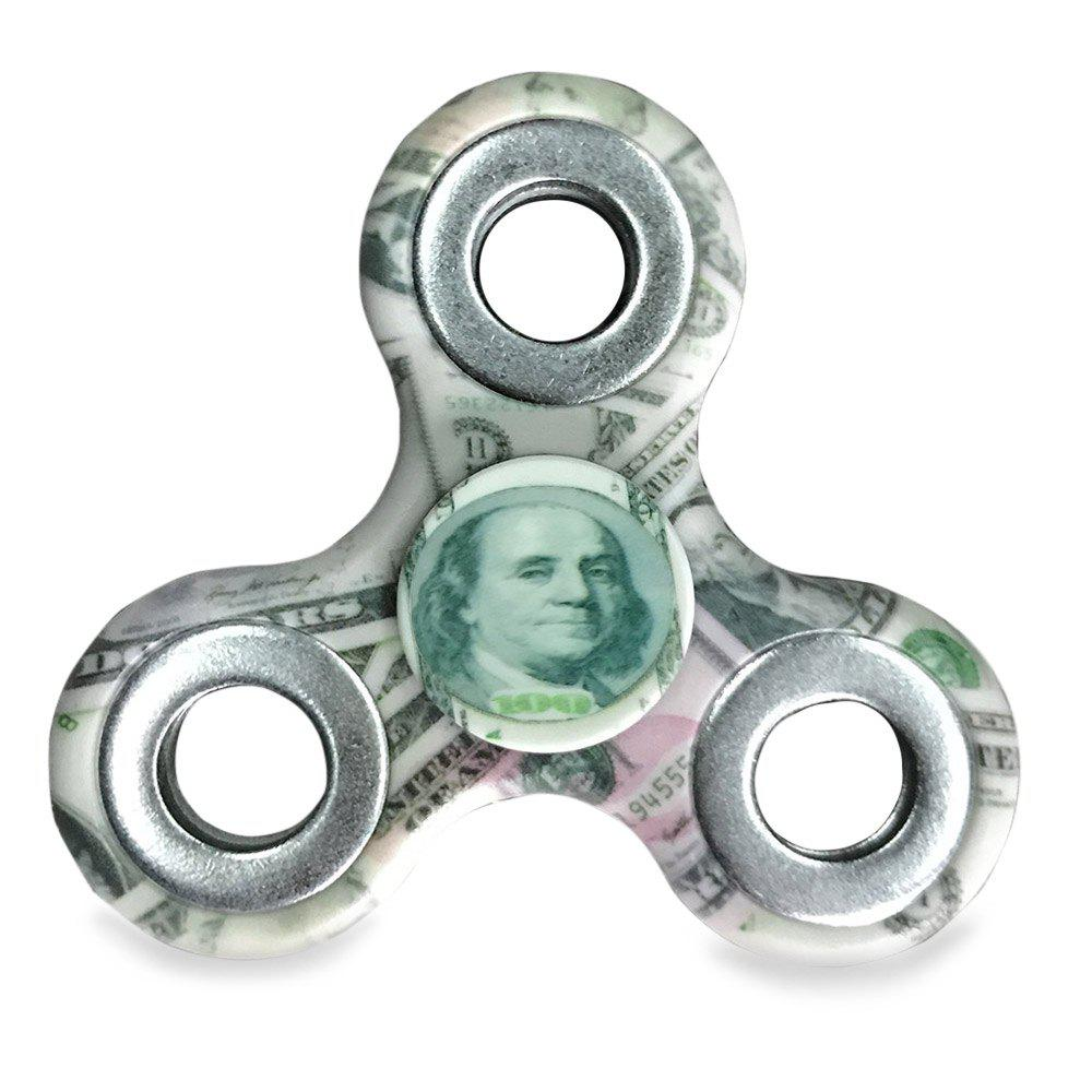 Money Print Finger Gyro Three Holes Fidget Spinner Toy hand spinner colored drawing finger gyro plastic fidget toy