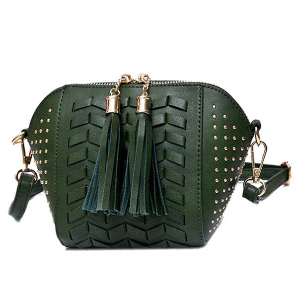 Weaving Tassel Rivet Crossbody Bag - GREEN