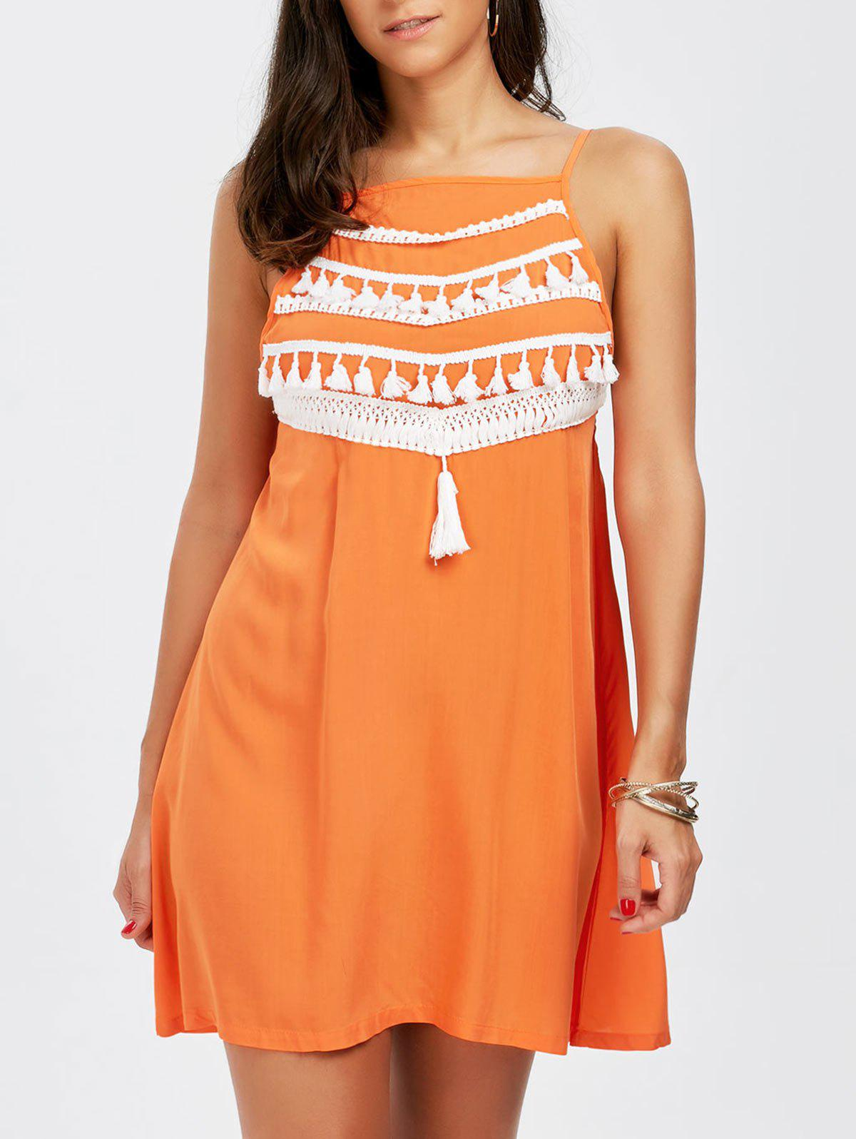 Spaghetti Strap Tassel Dress - ORANGE XL