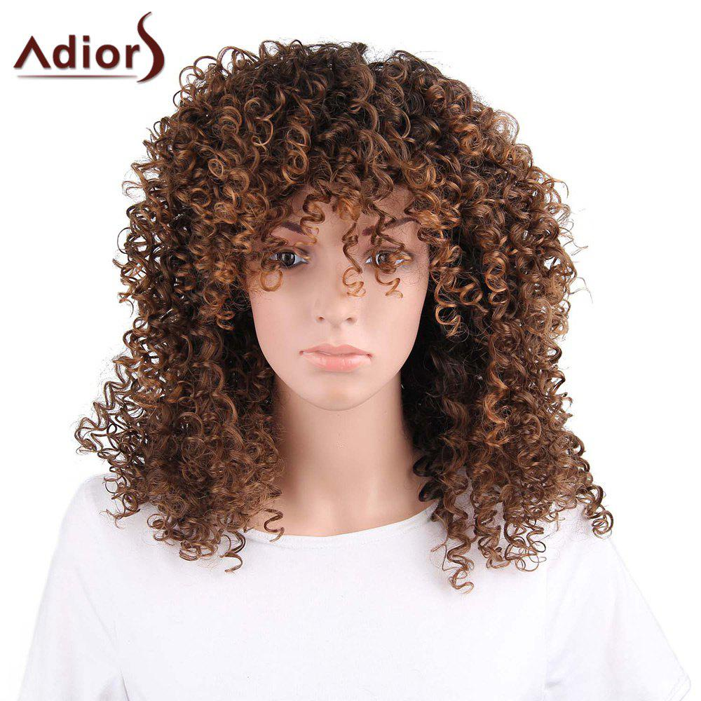 Adiors Long Side Bang Shaggy Afro Curly Synthetic Wig adiors hair neat bang short afro curly synthetic wig