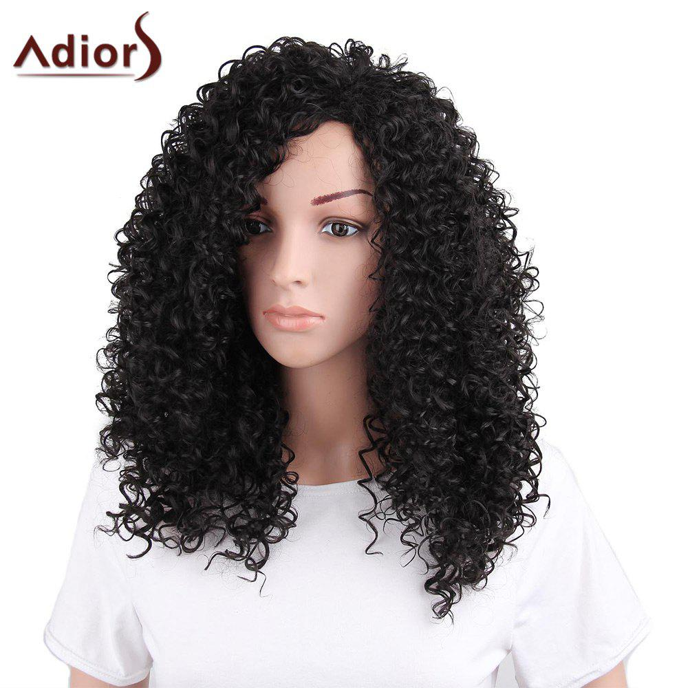Adiors Long Shaggy Afro Curly Side Bang Synthetic Wig adiors hair neat bang short afro curly synthetic wig