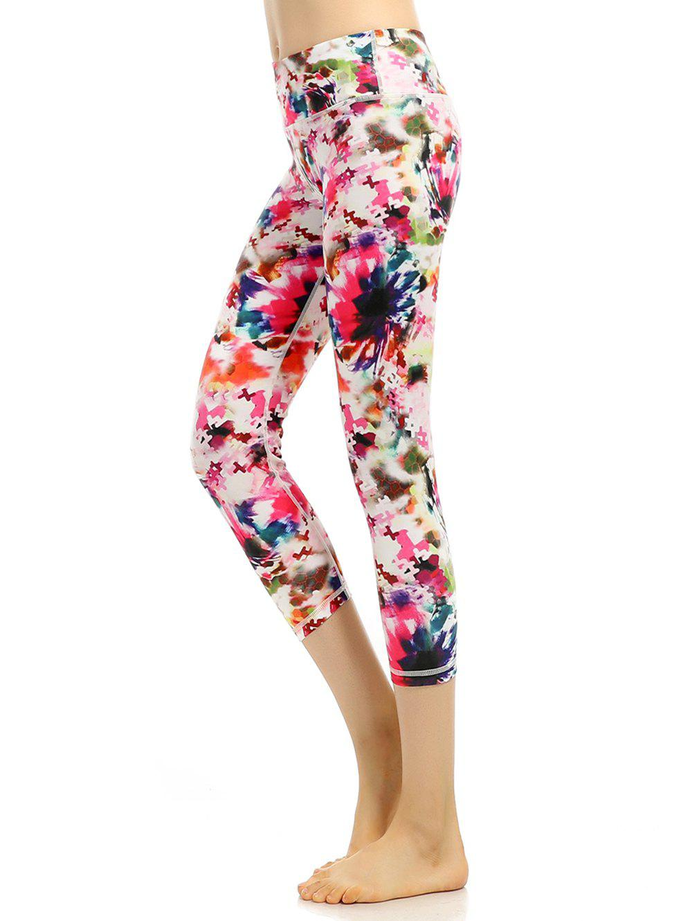 High Waist Colorful Pattern Capri Gym Leggings - PINK XL