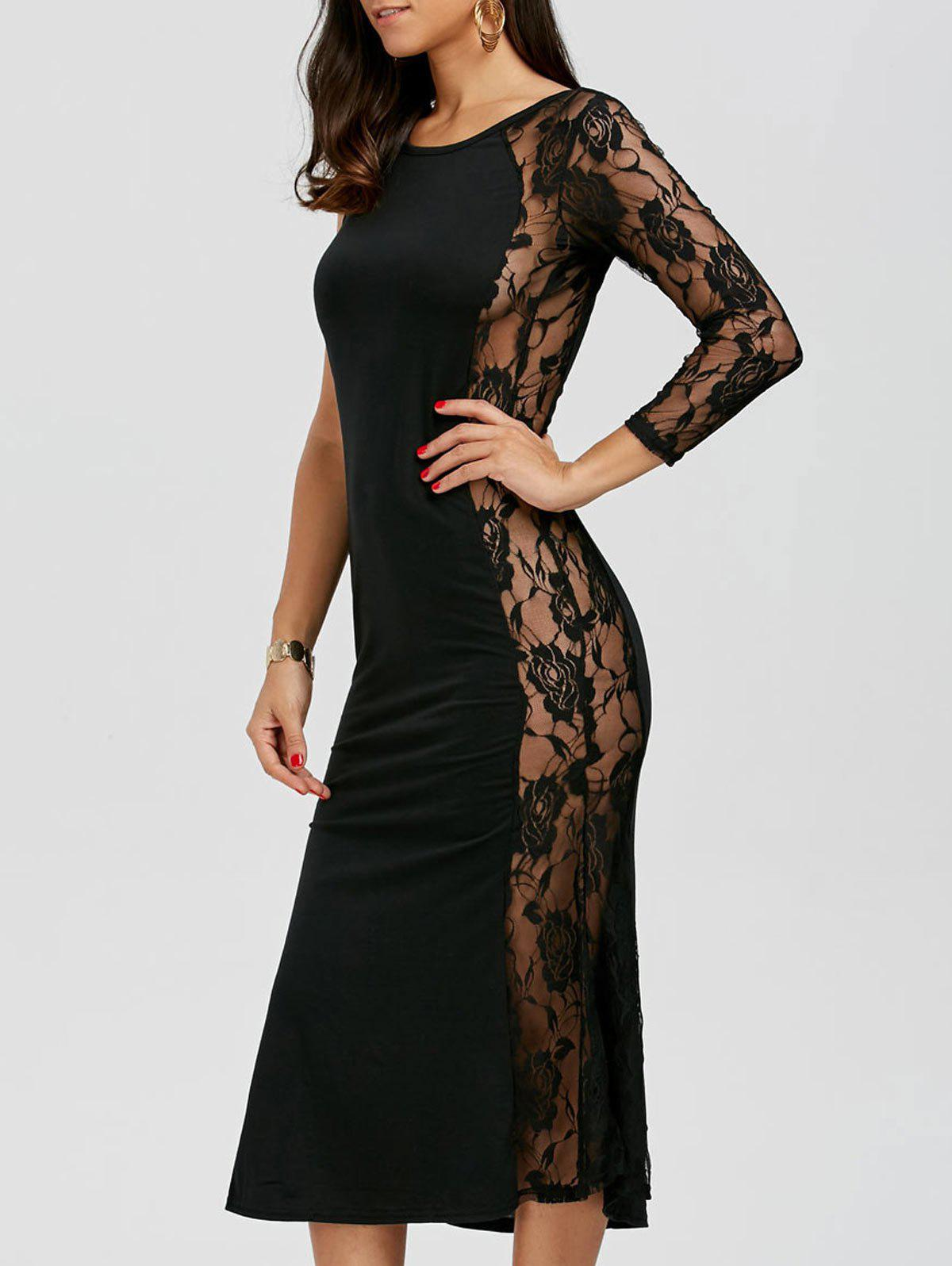 One Sleeve Floral Lace Insert Dress - BLACK L