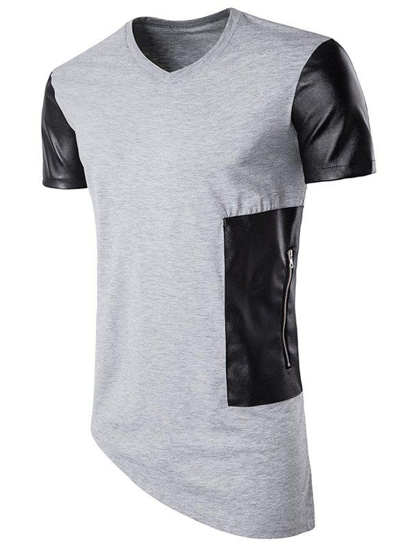 PU Leather Panel Oblique Bottom Longline T-Shirt - LIGHT GRAY S