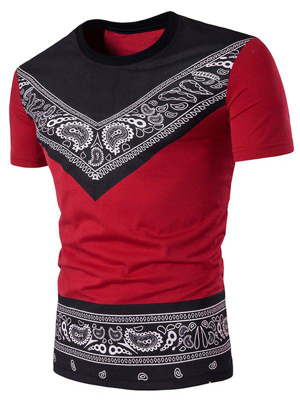 Color Block Tribal Paisley Print Short Sleeve T Shirt Red