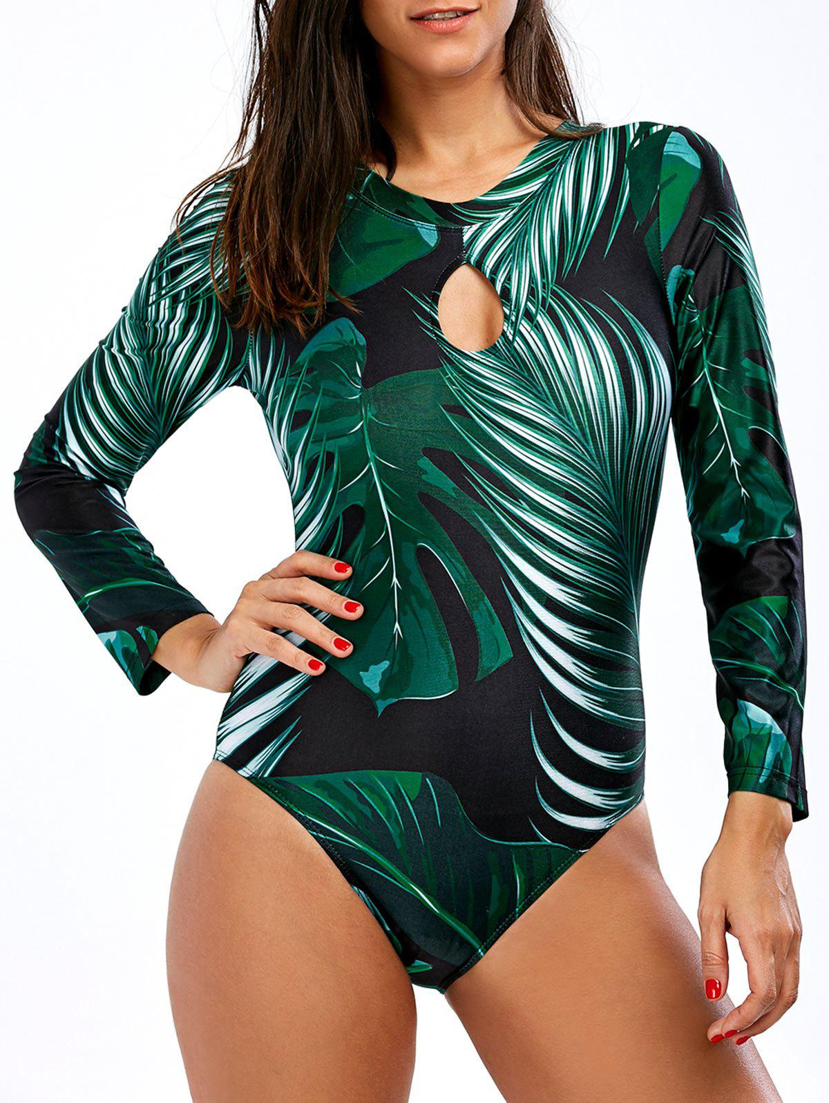 Backless Palm Tree Unlined One-Piece Swimsuit - COLORMIX XL