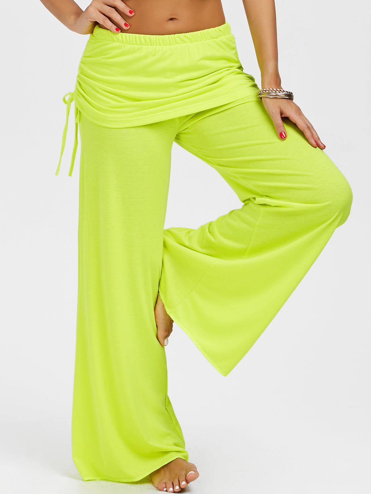 Skirted Drawstring Wide Leg Pants - YELLOW M