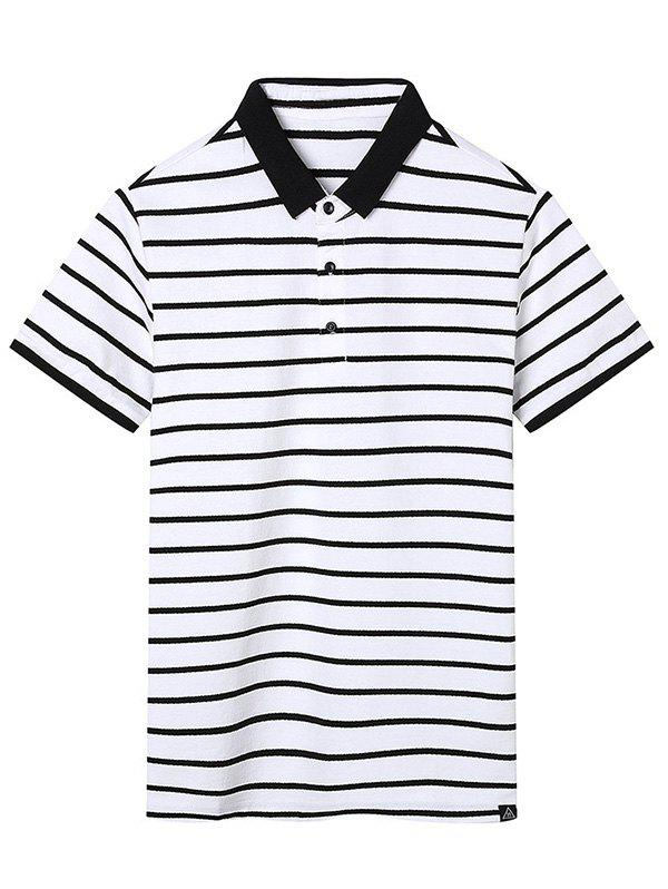 Contrast Trim Stripe Polo Shirt - OFF WHITE XL