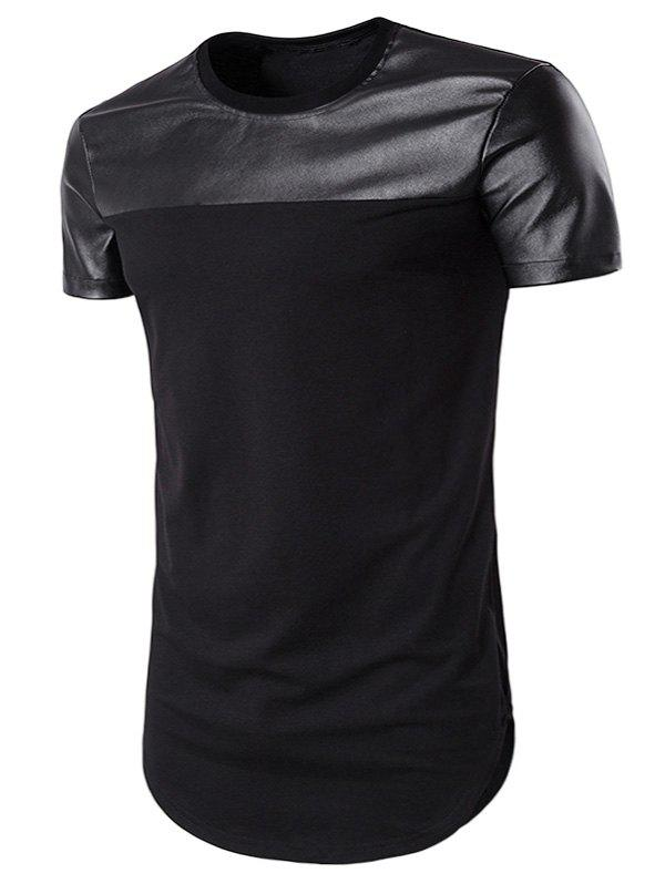Curve Bottom Cutting PU Leather Panel Longline T-Shirt - BLACK S
