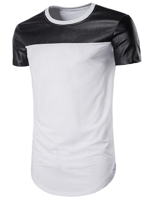 Curve Bottom Cutting PU Leather Panel Longline T-Shirt - WHITE 2XL