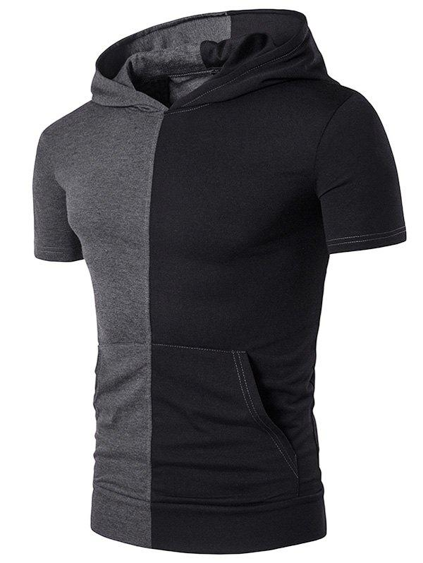 Hooded Pocket Color Block Panel T-Shirt - DEEP GRAY M