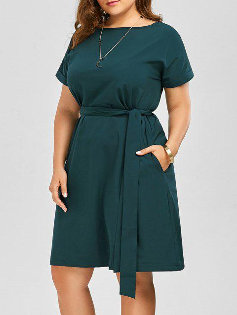 Plus Size Belted Knee Length Dress With Pockets - GREEN 2XL