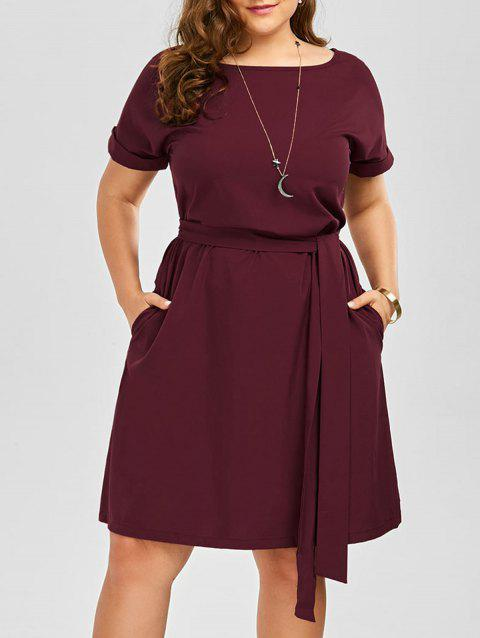 Plus Size Belted Knee Length Dress With Pockets