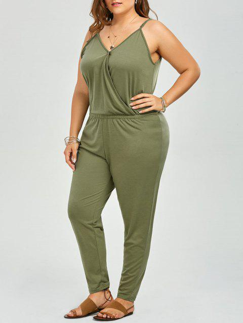 Plus Size V Neck Spaghetti Strap Jumpsuit - GREEN 3XL