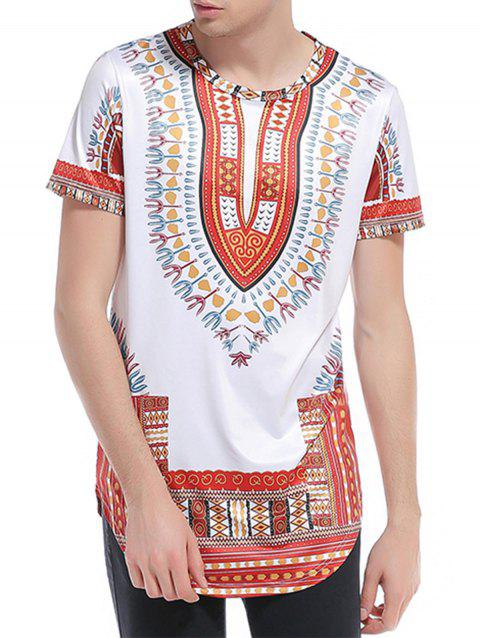 Ethnic Style Print Short Sleeve Curve Bottom T-Shirt - WINE RED L